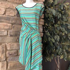 Rachel Roy striped Dress pleated asymmetric hem  M